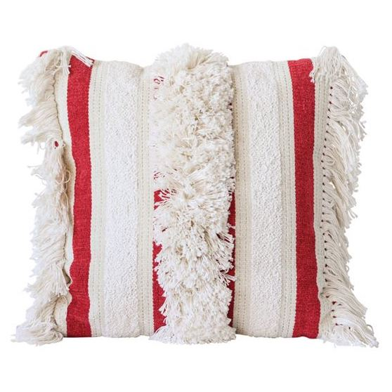 Red And White Striped Fringe Pillow Fourth Home