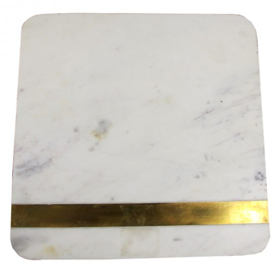 White marble square cheese board with brass stripe