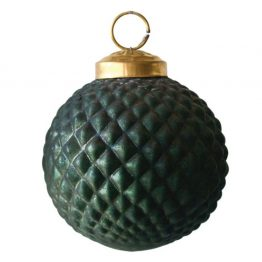 Emerald green diamond pattern glass ball ornament