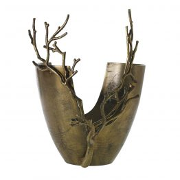 Gold Metal Vase With Branches