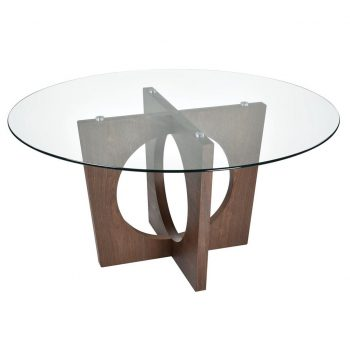 Round Glass Dining Table with Walnut Wood Base