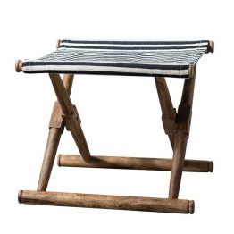 Saugatuck Black and White Folding Lakehouse Stool