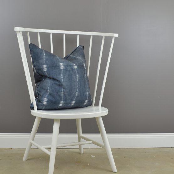 Striped Indigo and white throw pillow