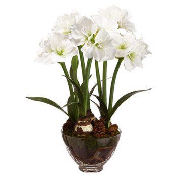 Faux White Amaryllis in Glass Bowl