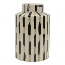 Black and white ceramic vase with lid