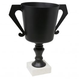 Black metal trophy urn vase