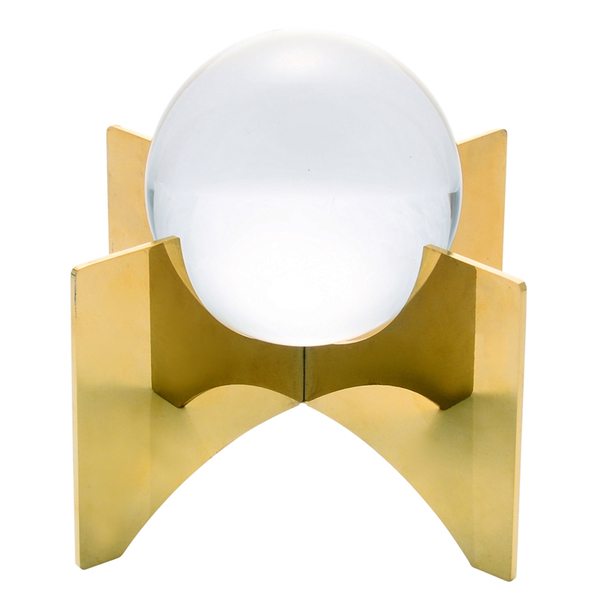 Crystal glass orb ball on gold stand