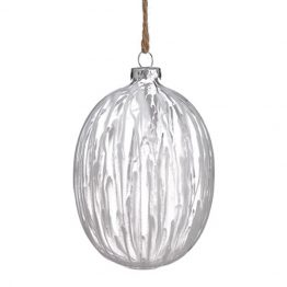 White blown glass ornament