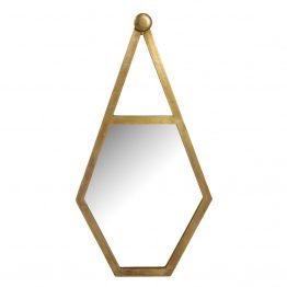 Gold hanging metal pentagon wall mirror
