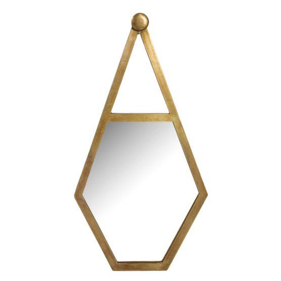 Gold hanging metal pentagon wall mirror
