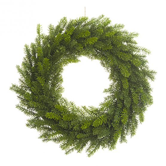Classic faux green pine wreath
