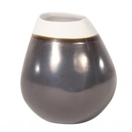 Asymmetrical metallic gunmetal silver and white vase