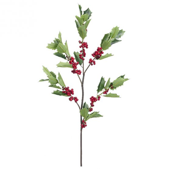 Faux holly stem with red berries spray