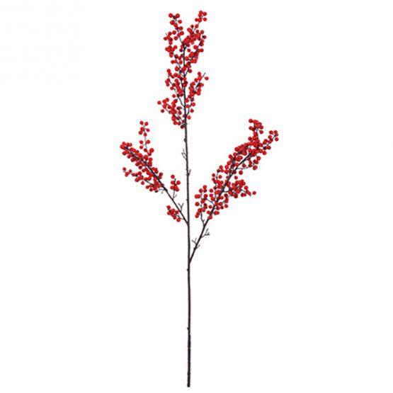 Faux ilex red berry stem spray