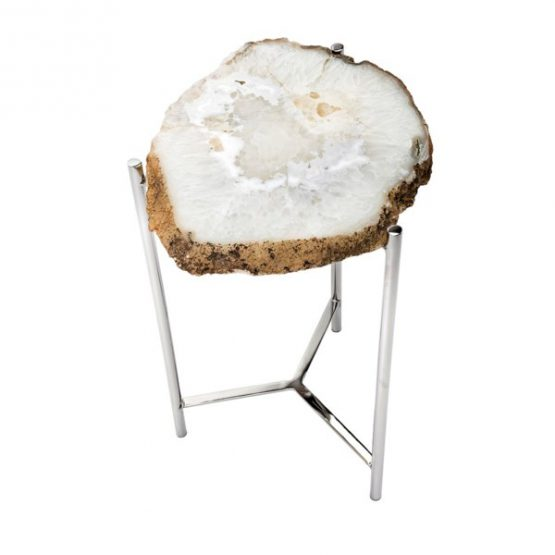 Agate side table with silver base