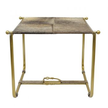 Brass And Cowhide Stool
