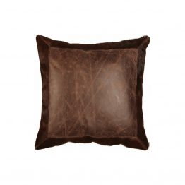 Brown Leather Pillow With Cowhide Border Edges