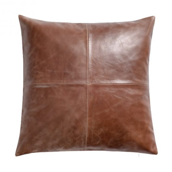Tobacco Brown Leather Throw Pillow