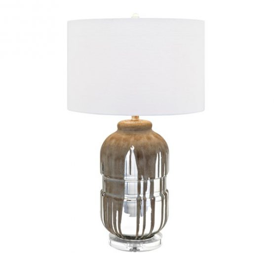 Mercury Glass Lamp with Dripping Metal Overlay and Crystal Base
