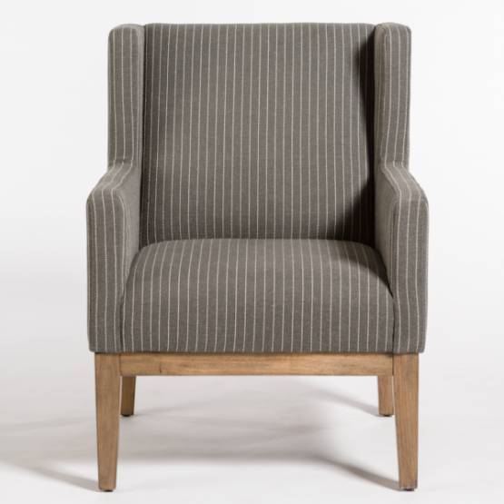 Gray Pinstripe Wingback Occasional Chair