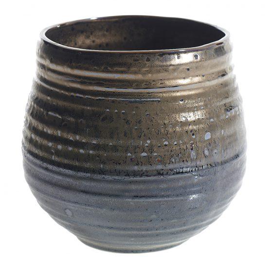 Metallic Ceramic Honey Pot