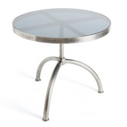 Round Silver Metal Dining Table with Glass Top