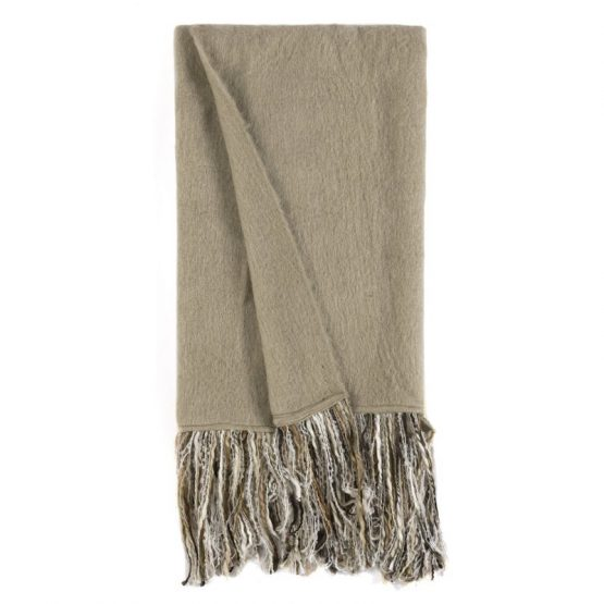 Sand colored throw with fringe