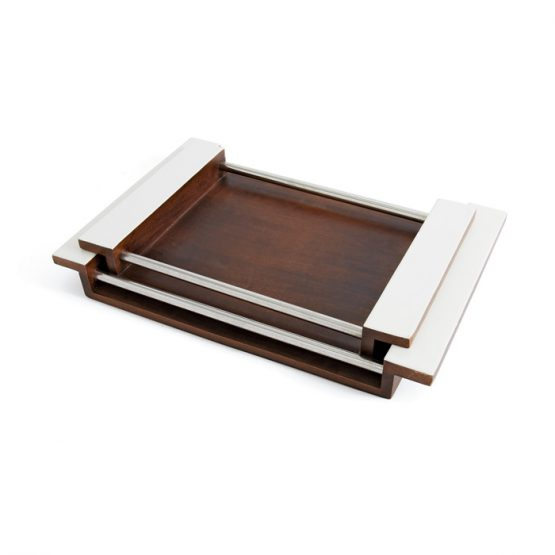 Walnut Wood Tray with White Handles