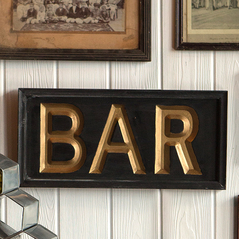 Wooden Black and Gold Bar Sign