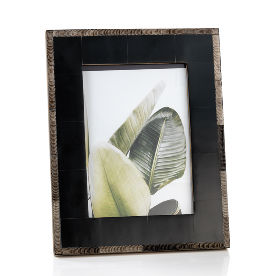 Black bone and chiseled horn photo frame