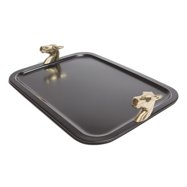 Black Tray with Gold Horse Head Handles