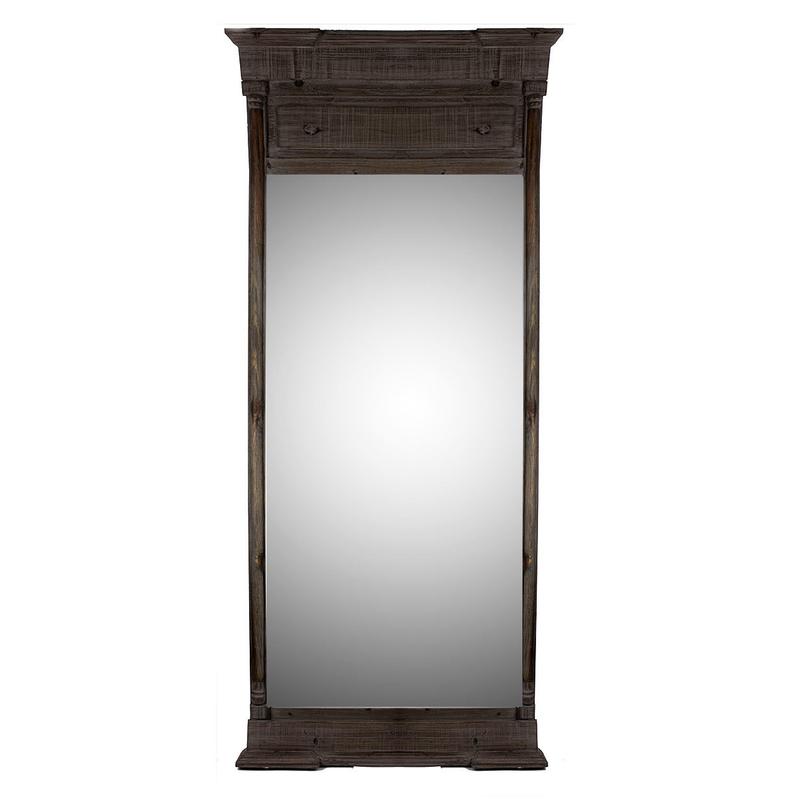 Black Pin Wood Floor Mirror