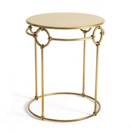 Brass Open Round Side Table