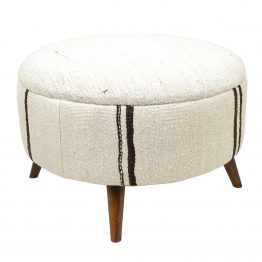 Brown and White Kilim Ottoman