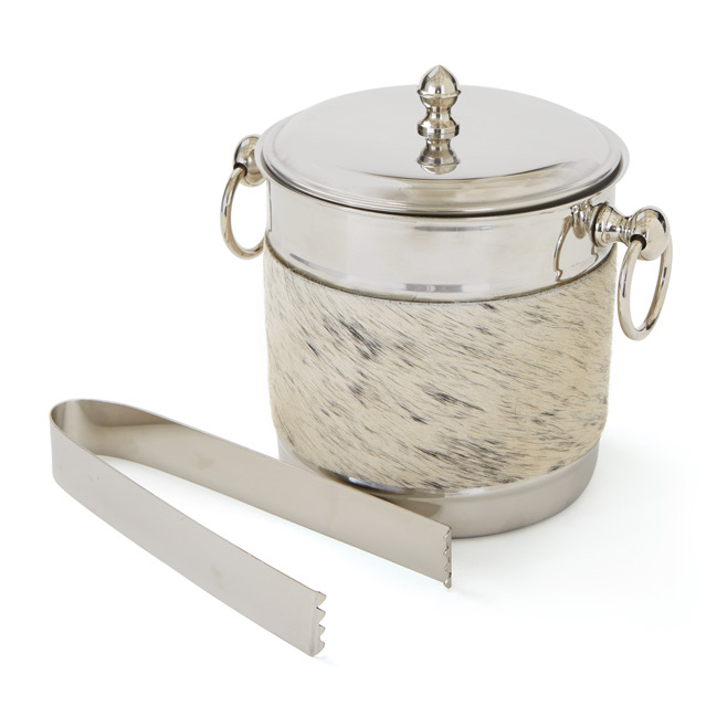 Cowhide and Silver Ice Bucket