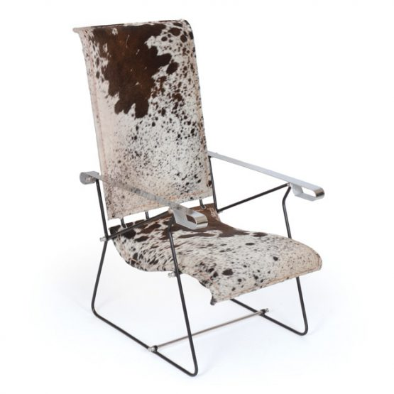 Cowhide and Metal Sling Chair