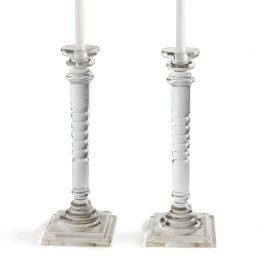 Glass Hand Cut Taper Candleholder Set