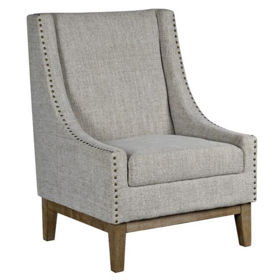 Gray Heather Wingback Chair with Brass Nailhead