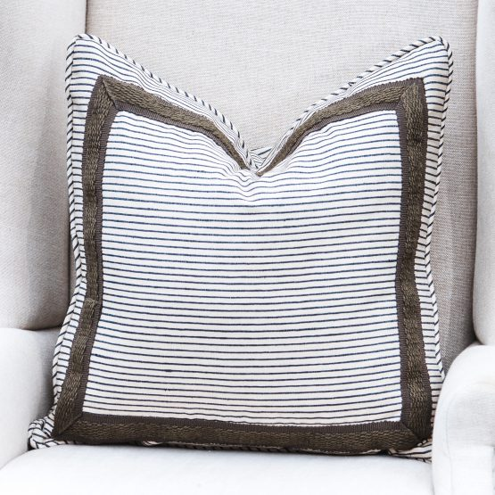 King and Hawk Charcoal Striped Pillow