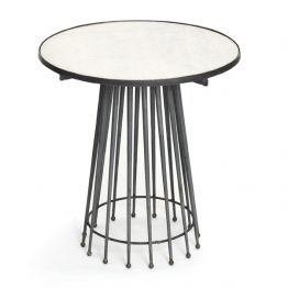 Marble and Steel Mid-Century Side Table
