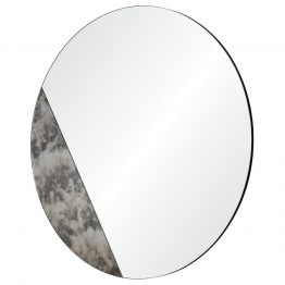 Round Circle Mirror With Diagonal Mercury Glass