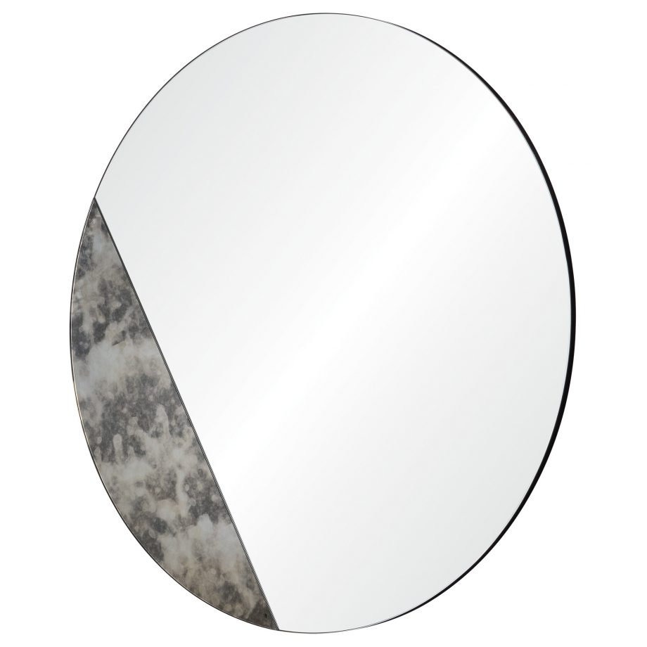 Round Circle Mirror With Diagonal Mercury Glass