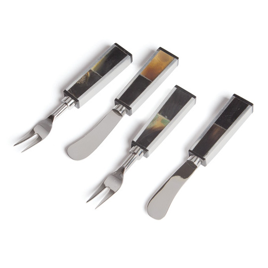 Silver And Horn Appetizer Utensils