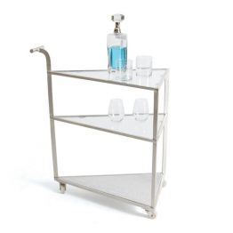 Silver and marble triangle bar cart