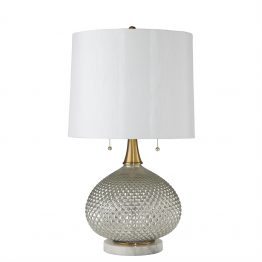 Victorian Cut Glass Lamp with Brass Accents and White Shade