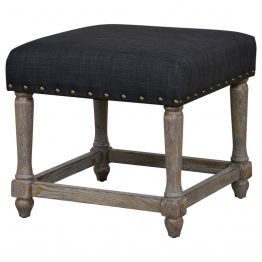 Whitewashed Wood Ottoman Black Fabric Seat