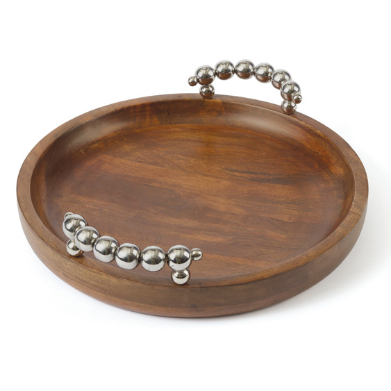 Wood Tray Bubble Silver Handles