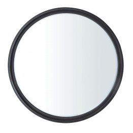 Black Metal Round Wall Mirror