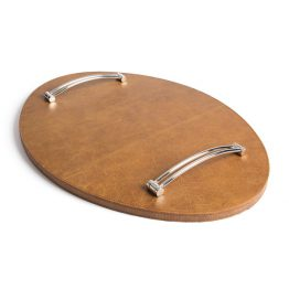 Brown Leather Oval Tray With Silver Handles