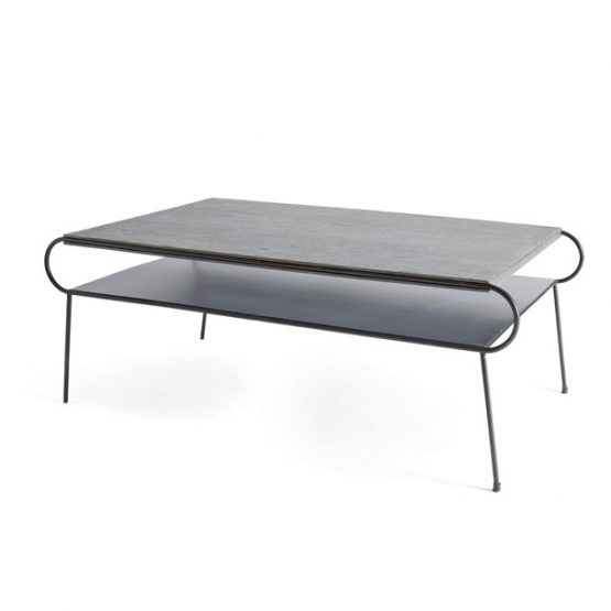Contemporary Metal Coffee Table With Shelf And Wood Top